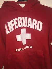red Lifeguard Orlando printed pullover hoodie Toronto, M3C 3L7
