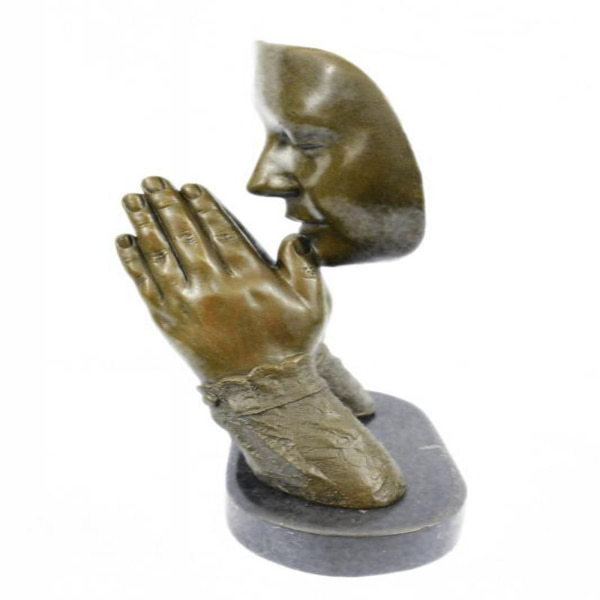 Amen Pray Bronze Sculpture on Marble Base Statue (13X9 Inches) 9c7b0fa1-c9b1-4847-a983-16ef6eedbeda