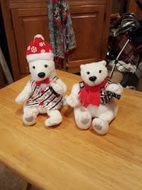 two polar bear plush toys