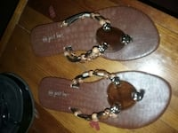 brown white and beige beaded t strap sandals