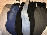 two black and blue jeans