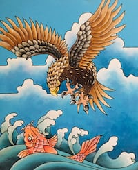 "Asian Art 30"" x 40"" Acrylic on Canvas - Eagle vs Coi"