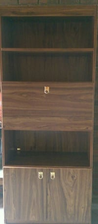 brown wooden 2-door bookshelf and a fold down shel Kelowna, V1X 5K8