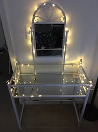 Beautiful white heart steel and glass vanity/makeup stand 10 mi
