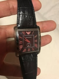 EMPORIO ARMANI square silver analog watch with black strap leather