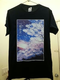 Custom Small Black T-Shirt With Japanese Art