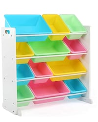 Tot Tutors Kids' Toy Storage Organizer with 12 Plastic Bins, White/Pastel (Pastel Collection) 34 km