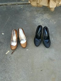 two brown and black patent leather pumps