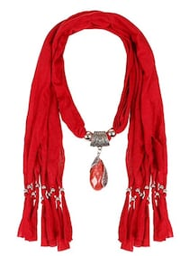 Luxury Ruby Red Jersey Scarf with Red Pendent and Silver Colour Ball Tassels Brampton, L7A 3M5