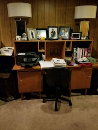 brown wooden computer desk with hutch Calgary, T3K 1X7