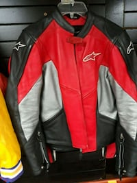 red and black leather zip-up jacket Columbia, 21044