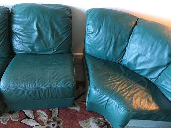 4-section Green couch. Willing to negotiate  fc4f9d16-ba76-4194-a48c-32ab1a53e8f1