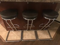 "Three brown leather padded bar stools 31"" Milton, L9T 0P1"