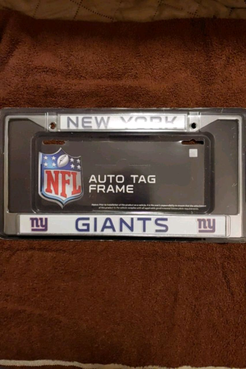 Photo Officially licensed New York Giants chrome auto tag frame please read