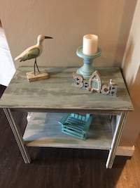 Freshly chalk painted Vintage side/accent table ....