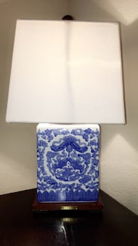 Ralph Lauren blue and white ceramic base square empire lampshade table lamp