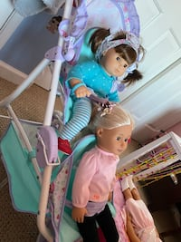 American girl double stroller and 2 beds