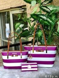 pink and white stripe leather tote bag Falls Church, 22044