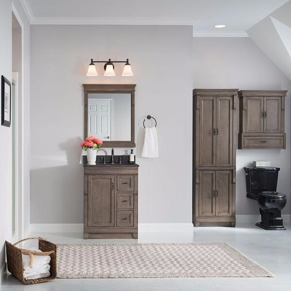 New Home Decorators Collection Naples 24 In W Bath Vanity Cabinet Only In Distressed Grey With Righ