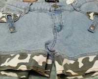 blue denim and camouflage hot short