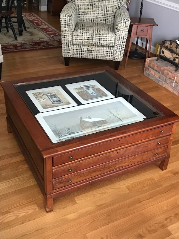Vintage Bob Timberlake Cherry Square Coffee Tail Map Table