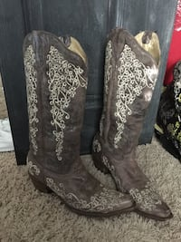 Brown-and-white floral leather cowboy boots