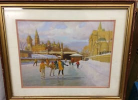 Print of skaters on the Rideau Canal in Ottawa.