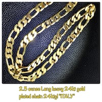 """24kt gold plated no fade 24"""" long 4 ounces chain collier chaine !! Laval, H7G"""