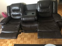 Dark Brown faux leather home theater sofa Mississauga, L5B 1J9