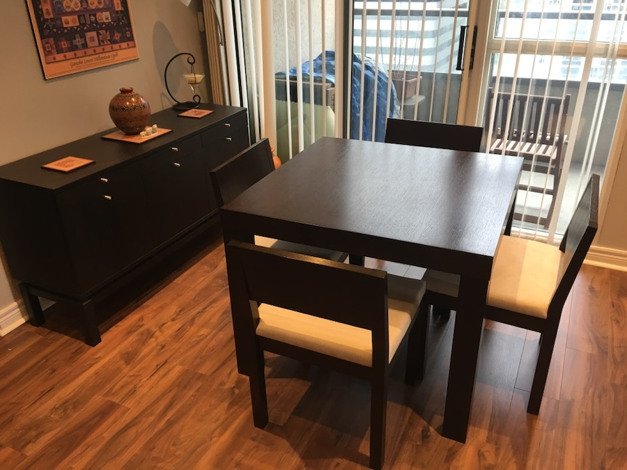 Used dining set table chairs sideboard espresso in