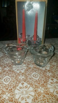 Pair of matching glass candlestick holders Oklahoma City, 73139