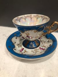 Royal Sealy Cup and Saucer from Japan. Blue with Gold Trim. Framingham, 01701