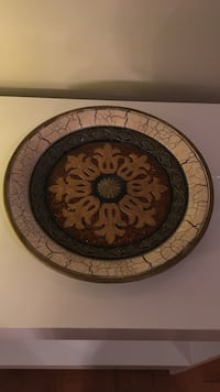 "Large 13.5"" round decorative ceramic & glass plate"