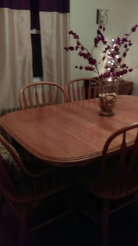 brown wooden and 5 piece dinette set