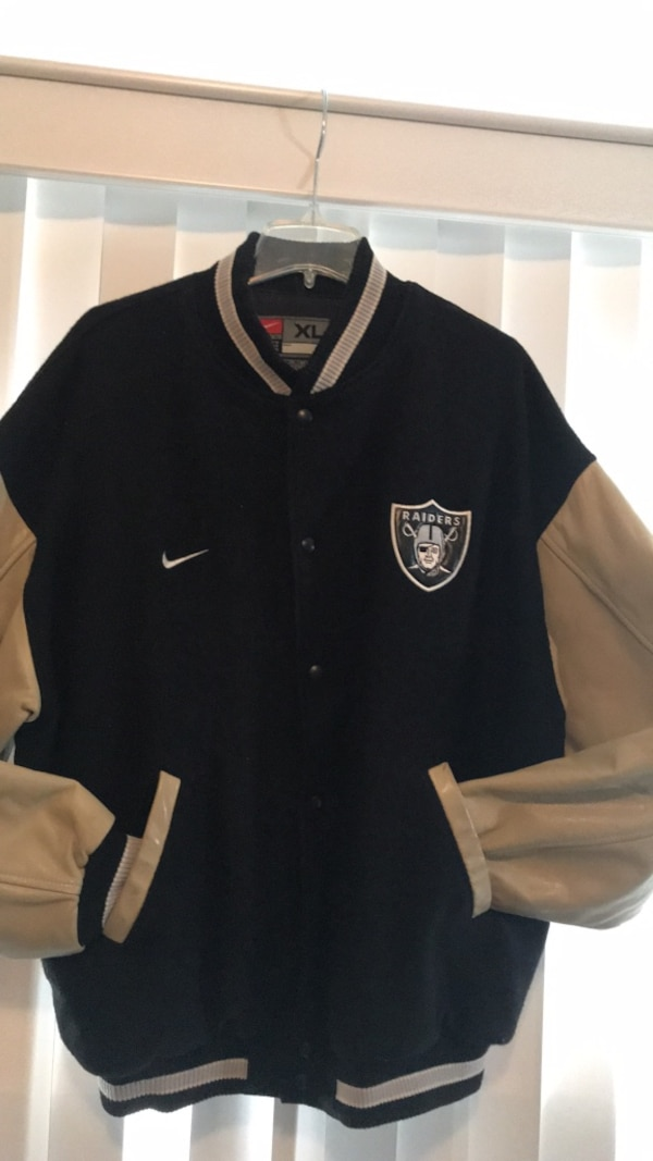 wholesale dealer 4c79a 68179 Mens Oakland Raiders Varsity Jacket Coat Leather & Wool size XL