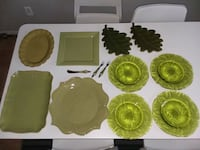 four green and brown ceramic plates Staten Island, 10312