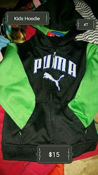 children's black and green Puma zip-up jacket