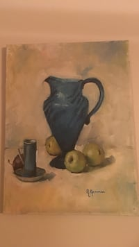 blue glass pitcher painting