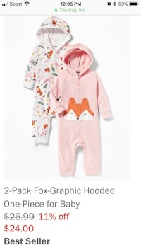 2 Piece Old Navy Fox Pajamas-3mo