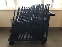 34 Folding Chairs with 2 Metal storing Racks Towson