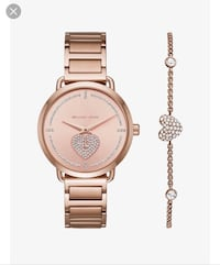 Michael Kors Portia Pave Rose Gold Watch and Bracelet Set- Brand New Brampton, L6R 0P7