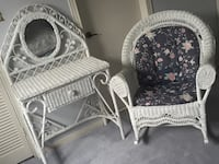 White wicker rocking chair and vanity table with mirror Toronto, M3A 2G1