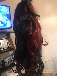 Burgundy and black wig-never worn
