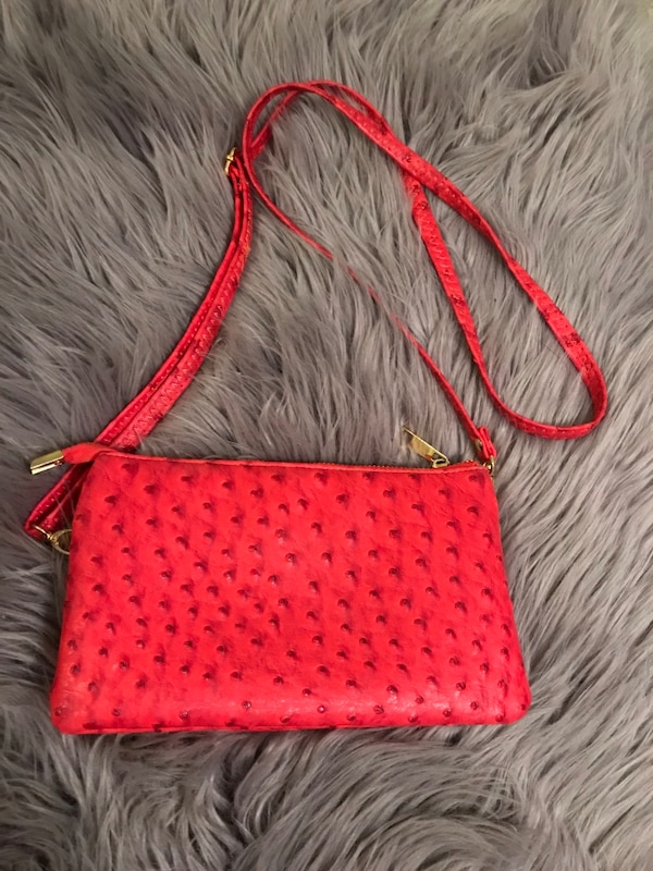 Small red/pink cross body purse