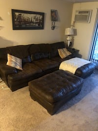 Polyester upholstery brown Sectional w/ Ottoman