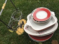 red and white dinnerware set