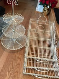 3 white wire trays snd 1 3 tier hi null