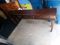 brown wooden framed glass top table Ashburn