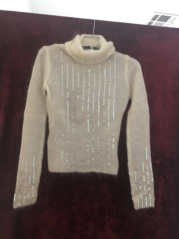 NWOT - MODA International Off White Mohair Turtleneck Sweater wh Sequence - XS