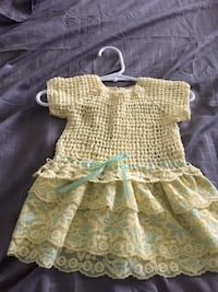 Beautiful Handmade Yellow Crochet With Lace Baby Dress Outfit For Sale Palm City, 34990